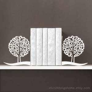 Book ends Trees Bookends Bookworm for her Metal bookends Modern decor Book shelf Housewarming gift Book lover gifts - white