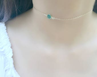 Emerald Necklace Birthstone Choker Swarovski Birthstone Necklace personalized emerald jewelry May birthstone jewelry bridesmaid gifts
