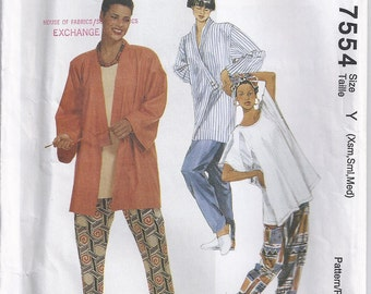 Unlined Oversized Jacket Pullover Top Pull On Pants And Headwrap Size Xsm Sml Med Sewing Pattern 1995 McCalls 7554