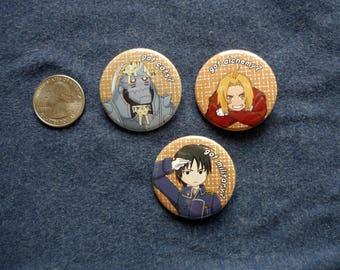 Full Metal Alchemist Button Set - Ed, Al, and Roy