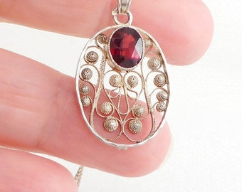 Vintage 1913 Sterling Silver Swedish Garnet Necklace Early Century Hallmarked Swedish Necklace BH 1913 Swedish Necklace Gift for Her