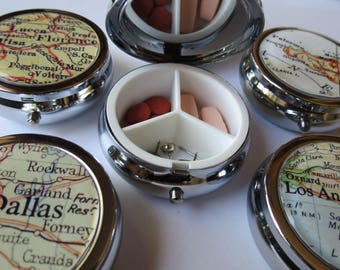 Pill box, pill holder, pill organizer, bridesmaid gift, party favors, pill case, purse pill box, trinket box, mint container, custom gift