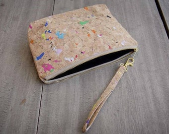 Cork : Small Cosmetic Bag, handmade from colorful recyceled cork