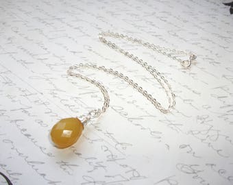 Chalcedony yellow wire wrap drop sterling silver necklace