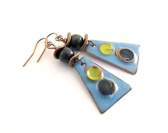 Handmade Chartreuse and Blue Earrings, Enameled Earrings, Boho Earrings, Industrial Earrings, Copper Earrings, Artisan Earrings, AE028