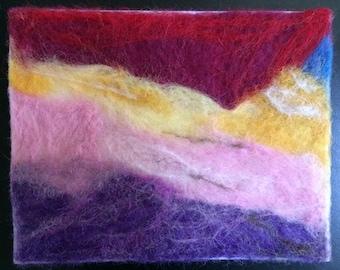 Handmade needle felted blank greeting card- frameable decor-Cave -Landscape