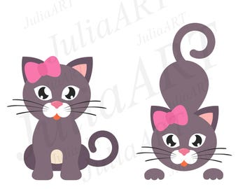 cartoon cute cat girl set vector image