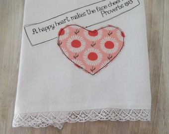 A happy heart makes a face cheerful, dish towel, hostess gift