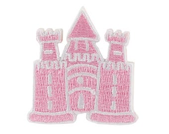 Pink Castle Iron On Applique, Pink Castle Iron On Patch, Castle Applique, Princess Patch, Fun Patch, Kids Patch, Embroidered Patch