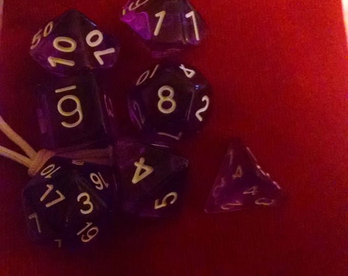 Lavender - 7 Die Polyhedral Set with Pouch