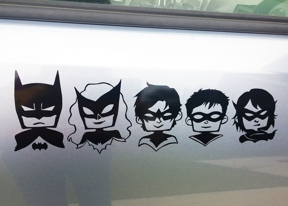 Car Decal - Batman Stickman Family Batfamily DC Comics Hero Vinyl Laptop  Sticker