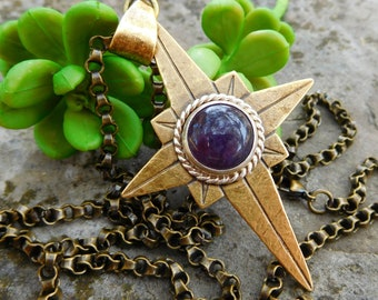 Amethyst north star necklace long chain | compass rose pendant | Large brass star | Bohemian style | Boho chic | Purple gemstone silver