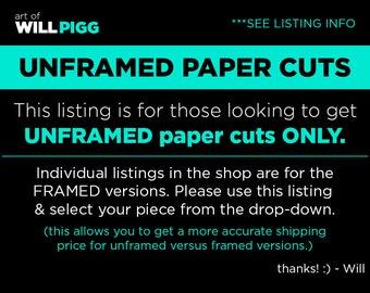 Unframed Paper Cuts Art of Will Pigg Will Pigg paper art