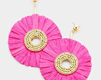 Raffia Disc Dangle Earrings - Gold/Fuchsia