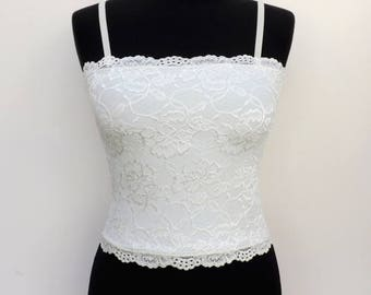 Ivory lined lace tank top. Ivory lace camisole. Floral lace top.