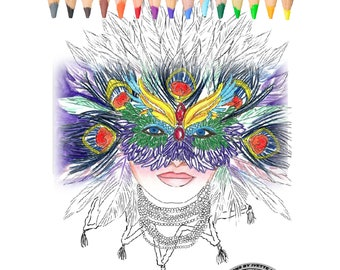 Coloring Book for Adults, coloring pages, Mardi Gras, Mask