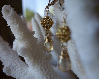 Gold mystic citrine drop earrings