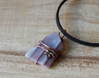 wire wrapped recycled glass pendant. Stained Glass Pendant Necklace For Women, Handmade Gift, Wire Wrapped Recycled Brown