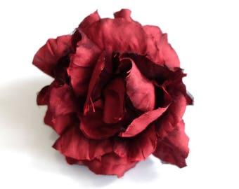 Red silk rose - Flower hair accessory - Red silk rose - Flower hair accessory - Rose red barrette - Floral hair pin -Flower brooch