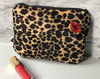 Faux Fur Leopard Print Cosmetic Makeup bag Rockabilly Pinup
