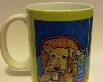 airedale terrier at the coffee shop cafe dog art mug cup 11 oz dog art mug cup 11 oz gift