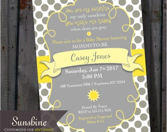 Bright Yellow And Grey Dots, You Are My Sunshine, Baby Shower Invitation  Gray   Sunny Dots   DIY   Printable
