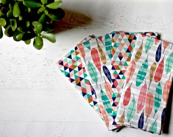 Large Cloth Dinner Napkins in Feather Print | Set of 4 | Double-sided Fabric Napkins | Reversible Napkins Coral, Salmon, Navy, Teal and Gold