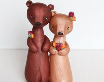 Bear Mr & Mrs - Autumn Woodland Wedding Cake Topper and keepsake by Heartmade Cottage