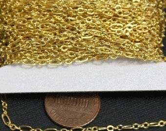 Special Sale 32ft spool of Gold plated Chain ( 3 and 1 ) Long and Short link 4.5X2.5mm - soldered links