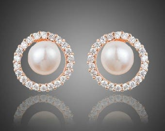 Valentines Day Gift, Wedding Bridesmaid Earrings, Pearl Eyeball Stud Earrings, Chain Statement Earrings For Women
