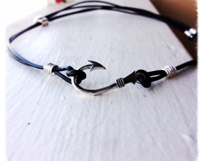 Fishers of Men Solid Sterling Fish Hook and Leather Adjustable Necklace