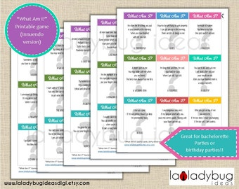 What Am I? Bridal shower Printable game. Hen night or Birthday party riddle based game, printable cards. Instant download. PDF File.