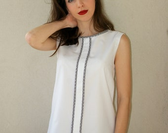 Satin top with white cotton for spring and summer