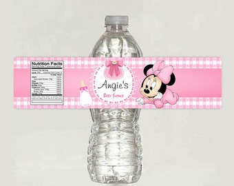 Baby Minnie Mouse Baby Shower water bottle label - Printable