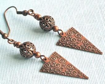 Copper Tribal Earrings, Filigree Earrings, Lightweight Earrings