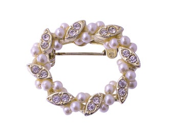Faux Pearl and Rhinestone Oval Brooch