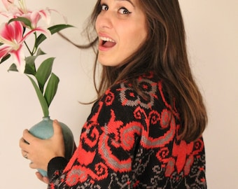 Vintage Sweater, Red & Black Pullover, Retro, 80s