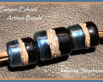 Big Hole Beads Triton and  Silvered Ivory Big Hole Lampwork Bead Set SRA