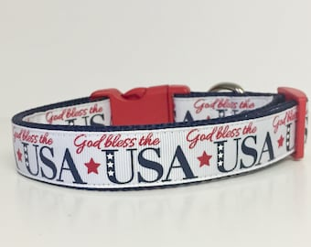 God Bless the USA - July 4th - Firework - Memorial Day - Dog Collar - USA - Pet - Gift - Summer - Bbq - Holiday - Puppy -