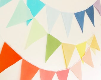 Garland Flag Bunting, Ombre Rainbow Color Fabric Banner, Pennants, Wedding Decor, Photo Prop, Baby Nursery Decor, Birthday Party, Bridal