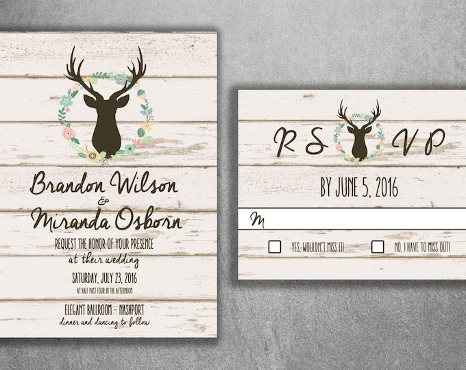 Deer Wedding Invitation, Country Wedding Invitations, Rustic Wedding Invitation, Wood, Buck, Deer Rack, Cheap, Boho, Affordable, Hunter