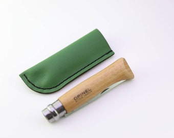 Leather sheath for Opinel with belt loop, two sizes