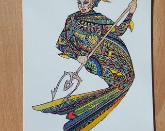 Mermaid knight - A6 postcard print