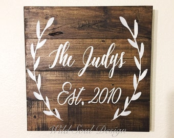 Last name sign, wreath framed name sign,  last name est sign,
