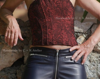 C + K Imitation leather or PVC trousers, witch crotch zipper, 2 pockets, lots of decoration seams,very shiny and stretchy, handmade, new