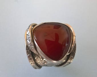 Artistic Sterling Silver Ring, With A beautiful Cornelian Stone