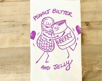 Peanut Butter and Jelly Tea Towel Dish Towel PB & J Wedding gift lovers