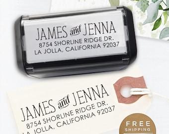 Self Inking Return Address Stamp, Custom Stamp, Wedding address stamp, Calligraphy Stamp, Save the Date Stamp, Address Stamp - Jenna