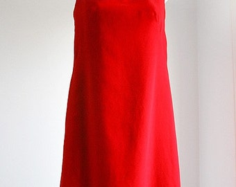 Red Velvet Christmas Dress with Keyhole back  -size S