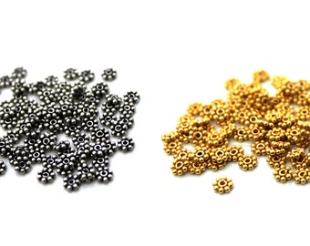 100pcs x 3mm Daisy Spacers, 925 Sterling Silver or 22 Karat Gold Vermeil. Sterling Silver Beads. Gold Vermeil Beads.